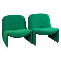 Pair of Green Alky Chairs by Giancarlo Piretti for Castillo, 1970s