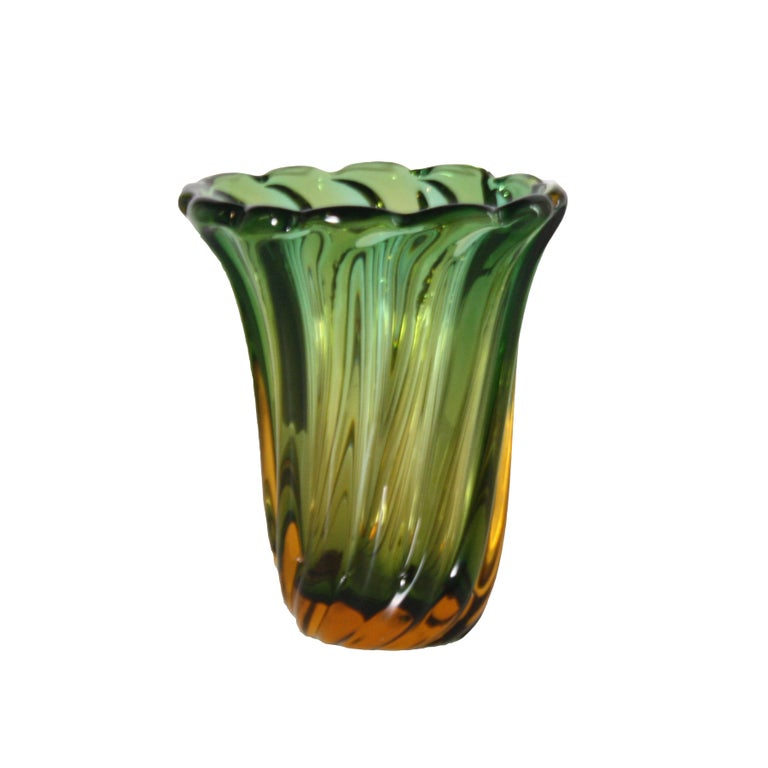 Pair of green and amber glass vases, circa 1950.