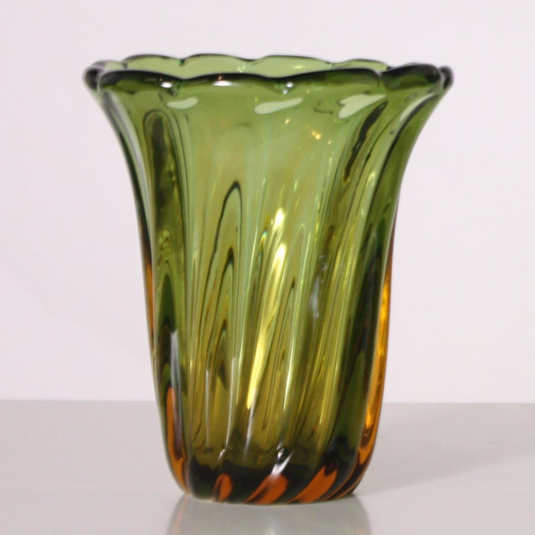 Murano Glass Pair of Green and Amber Glass Vases, circa 1950 For Sale