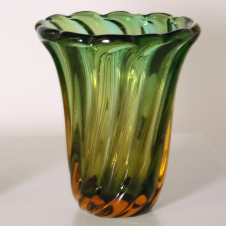 Pair of Green and Amber Glass Vases, circa 1950 For Sale 1