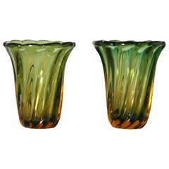 Pair of Green and Amber Glass Vases, circa 1950