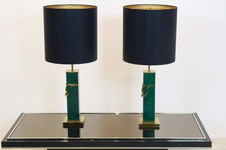 Belgian Pair of Green and Brass Mid-Century Modern Table Lamps For Sale