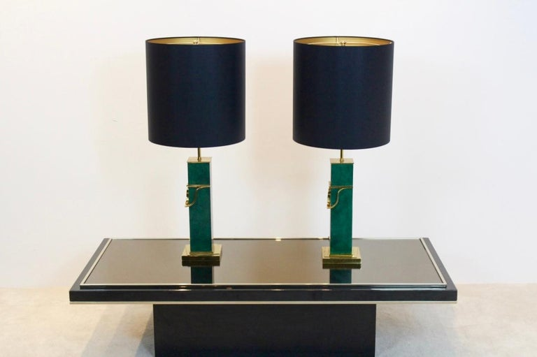 20th Century Pair of Green and Brass Mid-Century Modern Table Lamps For Sale