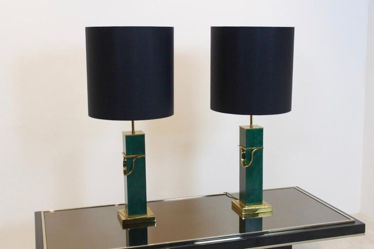 Pair of Green and Brass Mid-Century Modern Table Lamps For Sale 1