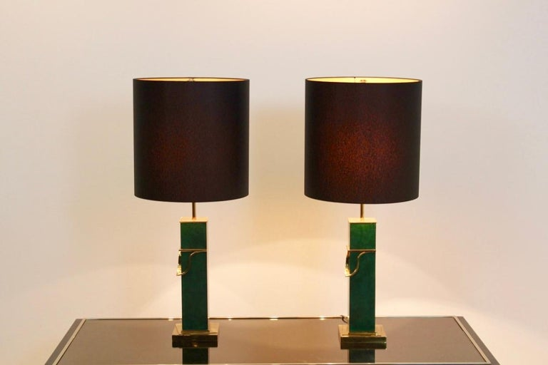 Pair of Green and Brass Mid-Century Modern Table Lamps For Sale 3