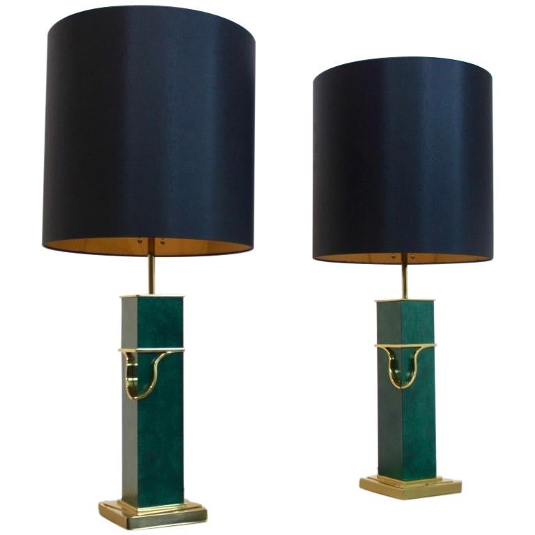 Pair of Green and Brass Mid-Century Modern Table Lamps For Sale