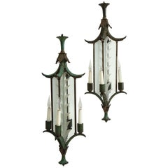 Pair of Green and Gilt-Painted Bronze and Glass Hanging Lanterns