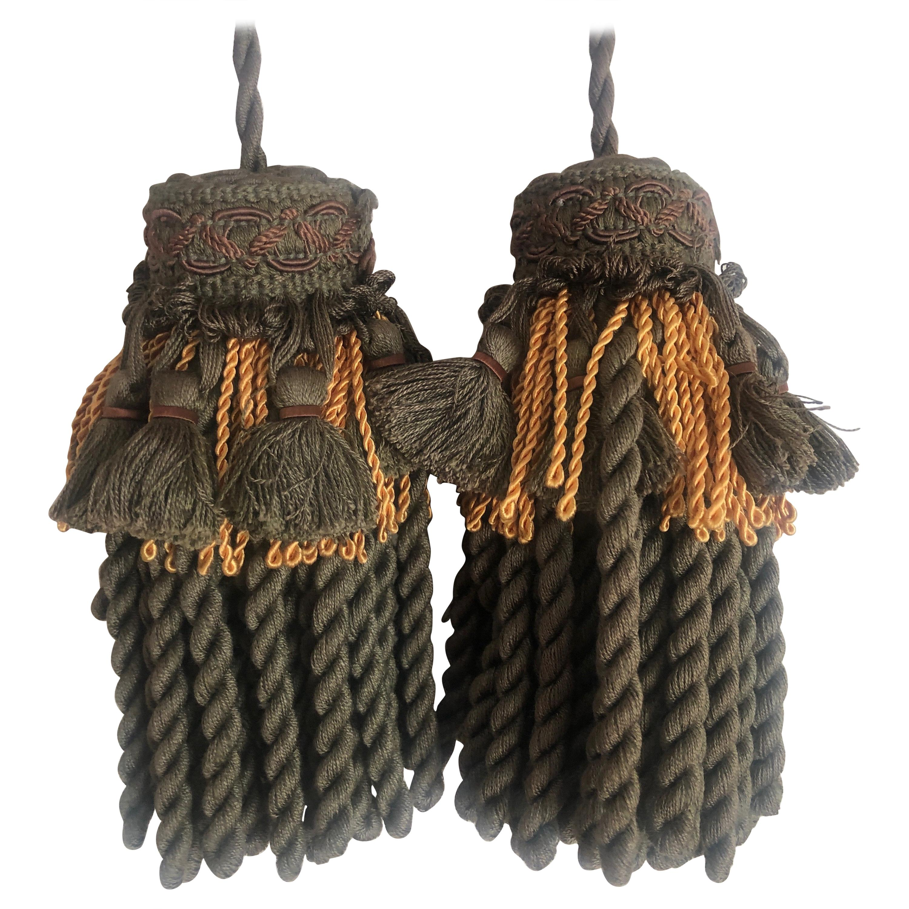 Pair of Green and Gold Decorative Key Tassels