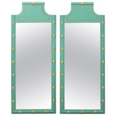 Pair of Green and Gold Faux Bamboo Mirrors