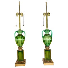 Pair of Green and Gold Marbro for Seguso Murano Lamps