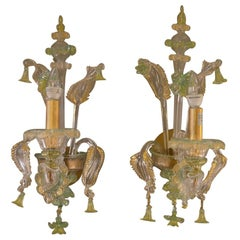 Pair of Green and Gold Murano Sconces