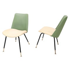 Pair of Green and Ivory Side Chairs by Gastone Rinaldi for Rima, Italy