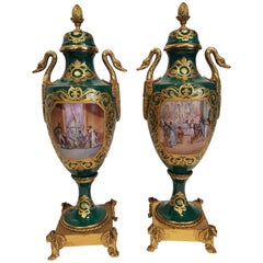 Pair of Green and Pure Gold Chateau d'Anet Vases