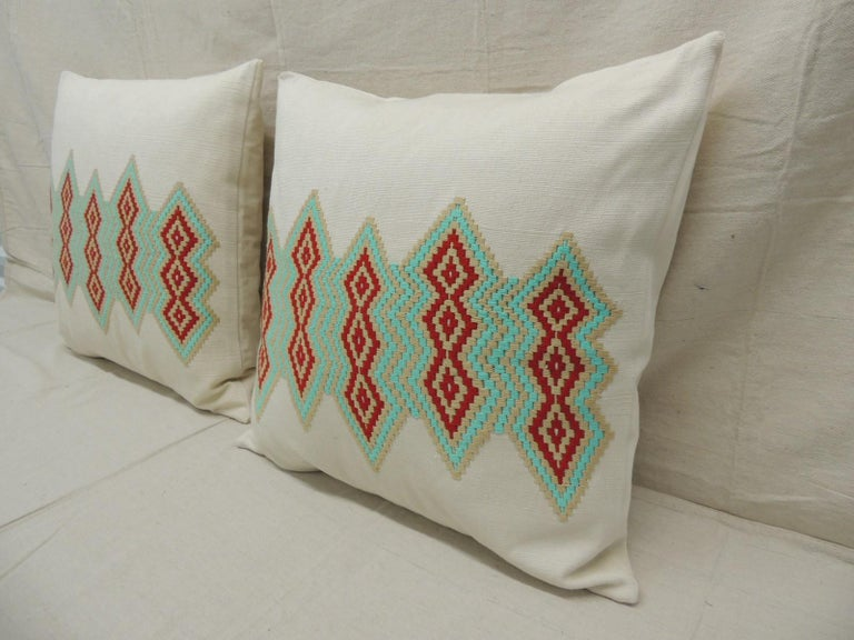 Bohemian Pair of Green and Red Embroidered Square Decorative Pillows For Sale