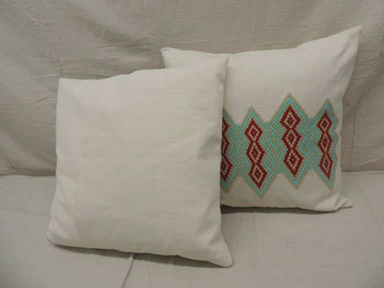 Hand-Crafted Pair of Green and Red Embroidered Square Decorative Pillows For Sale