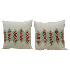 Pair of Green and Red Embroidered Square Decorative Pillows