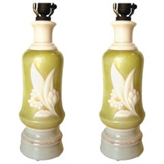 Pair of Green and White Floral Milk Glass Table Lamps
