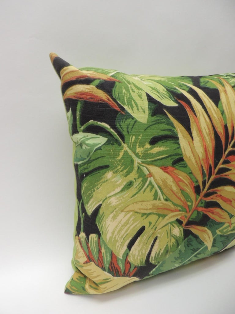 Pair Of Green And Yellow Tropical Leaf Bark Cloth