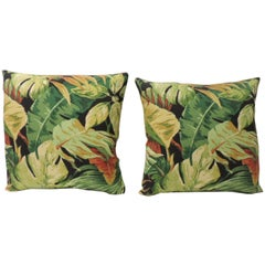 Pair of Green and Yellow Tropical Leaf Bark Cloth Decorative Pillows