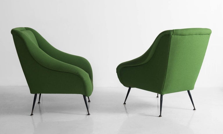 Modern Pair of Green Armchairs, circa 1960 For Sale