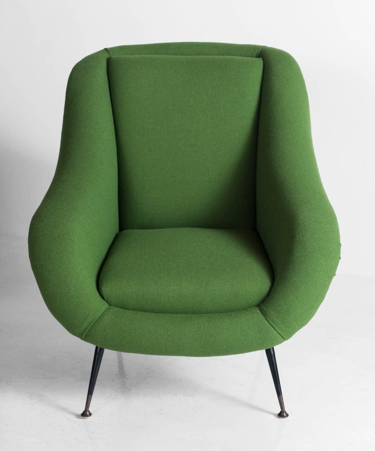 Italian Pair of Green Armchairs, circa 1960 For Sale