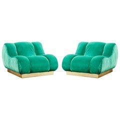 Pair of Green Armchairs by Studio Glustin