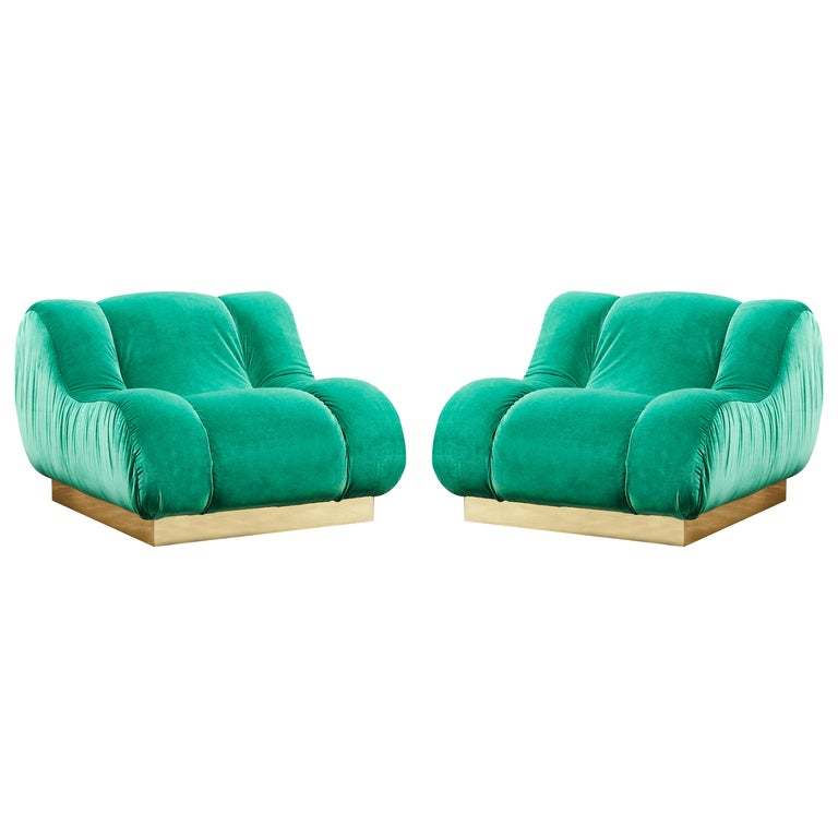 Pair of Green Armchairs by Studio Glustin For Sale
