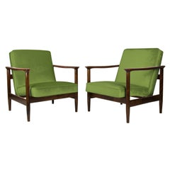 Pair of Green Armchairs, Edmund Homa, GFM-142, 1960s, Poland