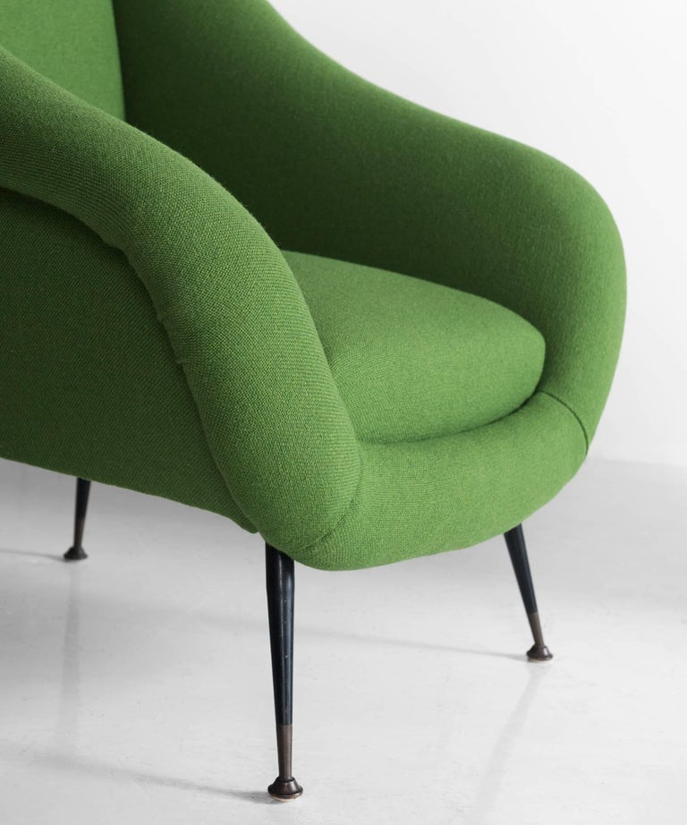 Pair of Green Armchairs, circa 1960 In Excellent Condition For Sale In Culver City, CA