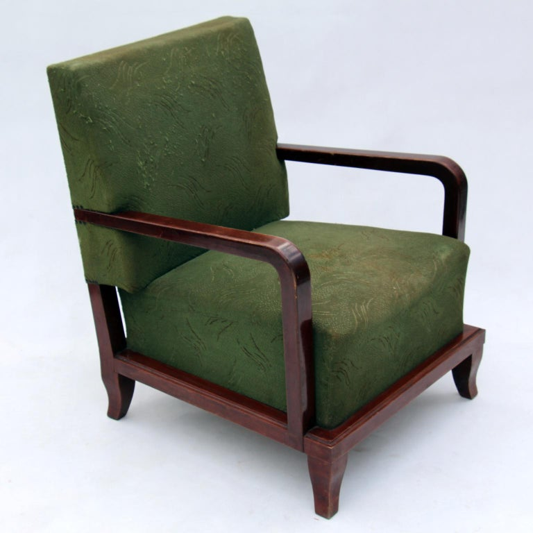 Pair of Green Art Deco armchairs, in original condition.