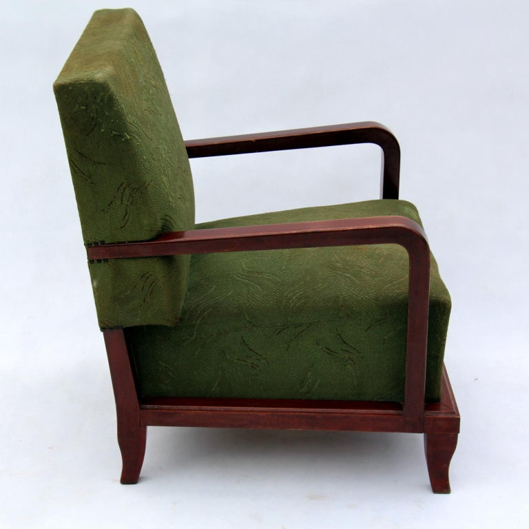 Hungarian Pair of Green Art Deco Armchairs, circa 1930 For Sale