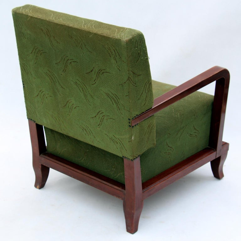 Pair of Green Art Deco Armchairs, circa 1930 In Good Condition For Sale In Lucenec, SK