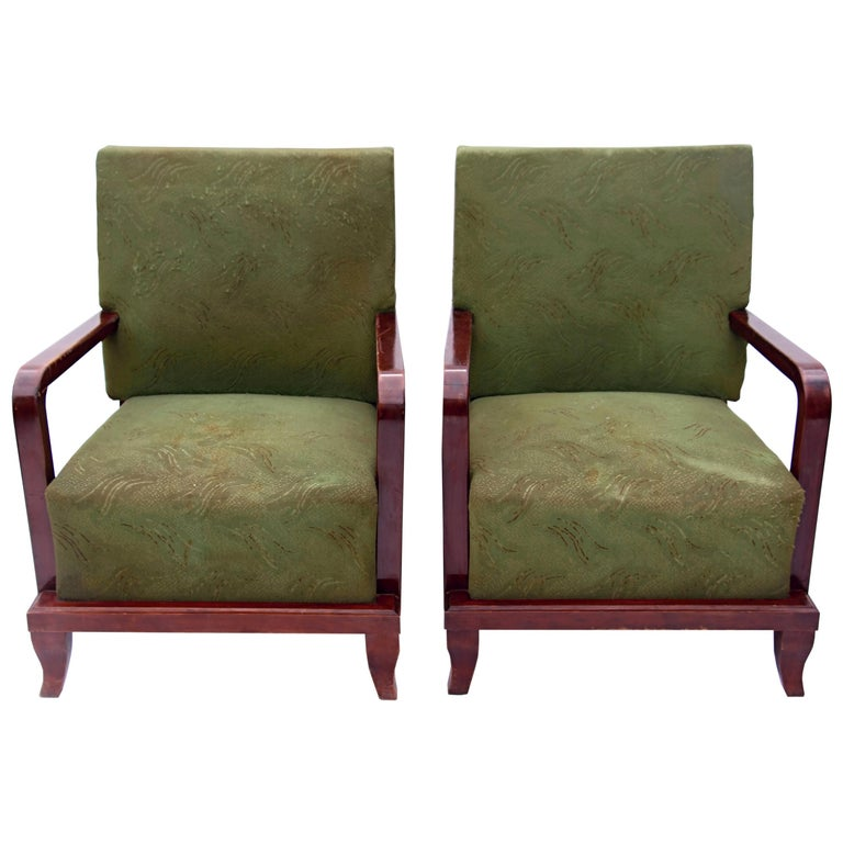 Pair of Green Art Deco Armchairs, circa 1930 For Sale