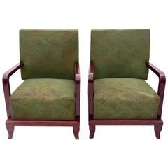 Pair of Green Art Deco Armchairs, circa 1930