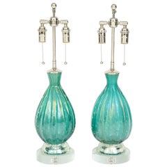 Pair of Green Barovier Lamps