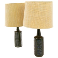 Pair of Green and Blue DL/30 Table Lamps by Linnemann-Schmidt for Palshus, 1960s