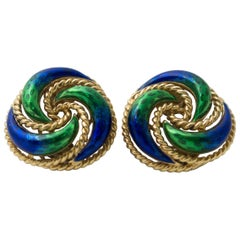 Pair of Green Blue Enamel 18 Karat Gold Clip Earrings