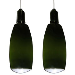 Pair of Green Cased Glass Ceiling Lights by Stilnovo, Italy, 1960s