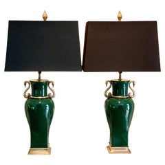 Pair of Green Ceramic Chapman Lamps with Brass Snake Band and Base