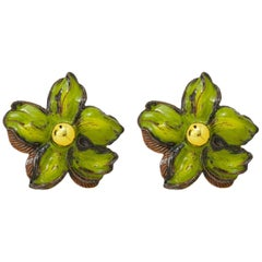 Pair of Green Ceramic Flower Sconces