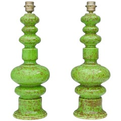Pair of Green Ceramic Table Lamps, 1970s