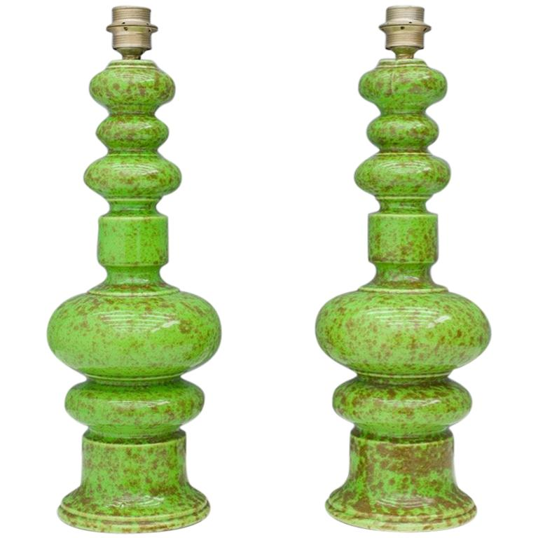 Pair of Green Ceramic Table Lamps, 1970s For Sale