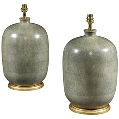 Pair of Green Chinese Porcelain Shagreen Table Lamps