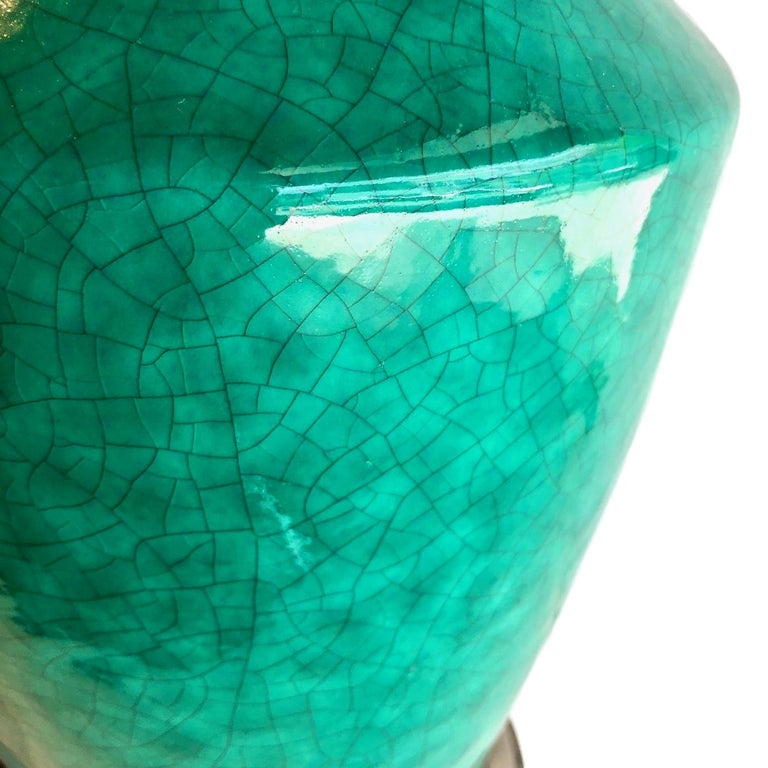 Pair of Green Chinoiserie Table Lamps In Good Condition For Sale In New York, NY