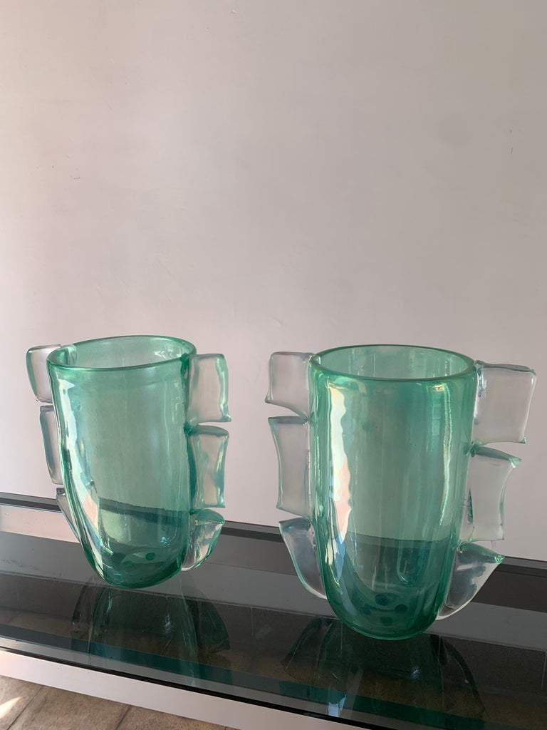 Pair of green Costantini murano Vases, 1990 Signed at the bottom of the vase