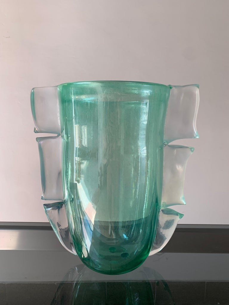 Pair of Green Costantini Murano Vases, 1990 In Good Condition For Sale In Saint ouen, FR