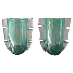 Pair of Green Costantini Murano Vases, 1990