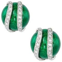 Pair of Green Enamel and Diamond Earrings