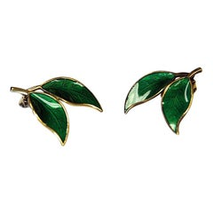 Pair of Green Enamelled Earclips by Willy Winnæss 1960s, Norway