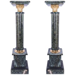 Pair of Green Floor Standing Marble Pedestals with Bronze Acanthus Capitals